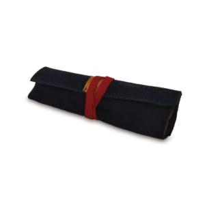 Portatabacco grande in pelle e camoscio blu con dettagli in giallo e rosso