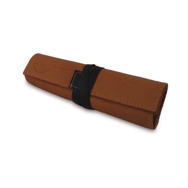 Portatabacco grande in pelle e camoscio marrone con dettagli in nero