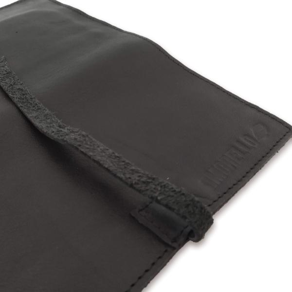 Portatabacco grande in pelle e camoscio nero e bordeaux