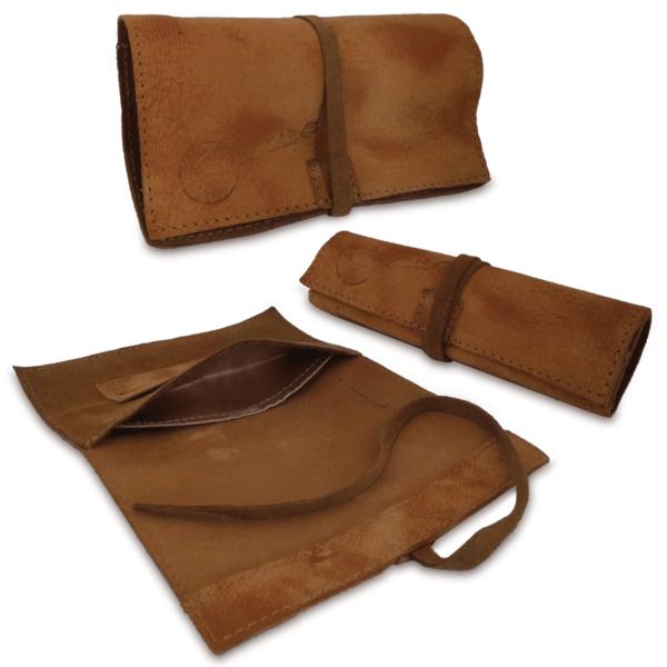 Portatabacco grande in pelle e camoscio marrone macchiato