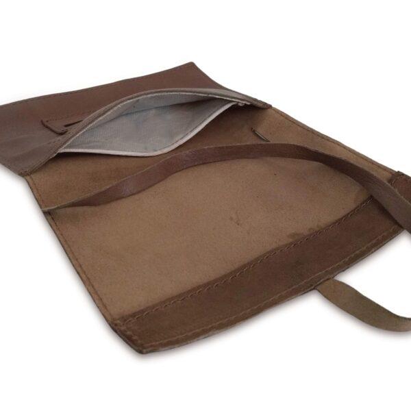 Portatabacco grande in pelle e camoscio marrone e beige