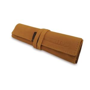 Portatabacco grande in pelle e camoscio giallo ocra con dettagli in marrone