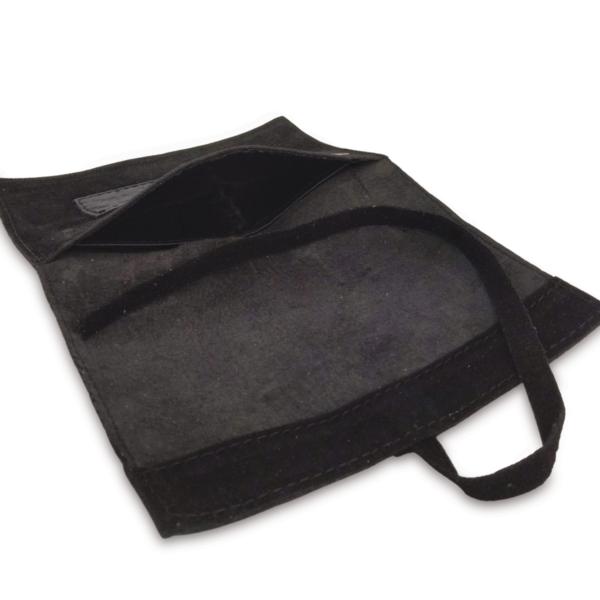 Portatabacco grande in pelle lucida e camoscio nero