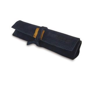 Portatabacco grande in pelle e camoscio blu con dettagli in giallo