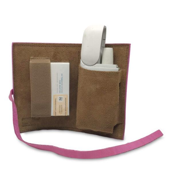 Porta IQOS classico in pelle rosa e interno beige con laccio