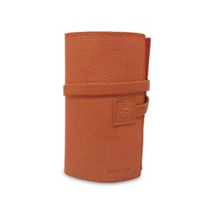 Porta IQOS classico in pelle marrone e interno pesca con laccio