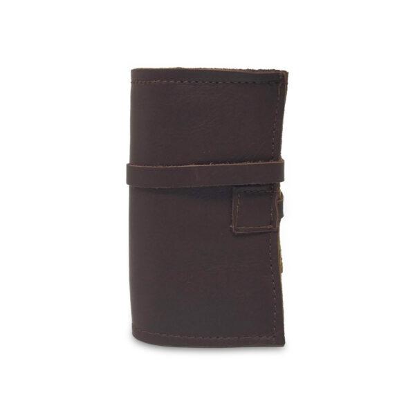 Porta IQOS classico in pelle marrone scuro e interno marrone chiaro con laccio