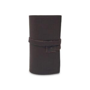 Porta IQOS classico in pelle marrone scuro e interno quercia con laccio