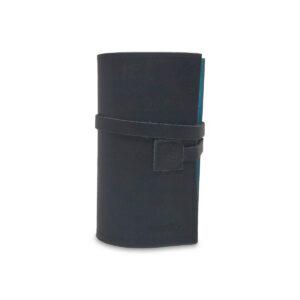 Porta IQOS classico in pelle nero e interno azzurro con laccio