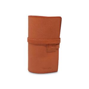Porta IQOS classico in pelle marrone chiaro e interno marrone scuro con laccio