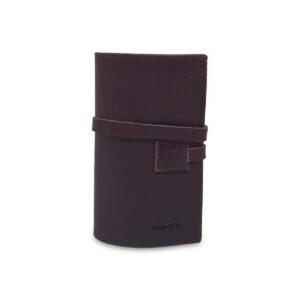 Porta IQOS classico in pelle marrone scuro e interno caramello con laccio