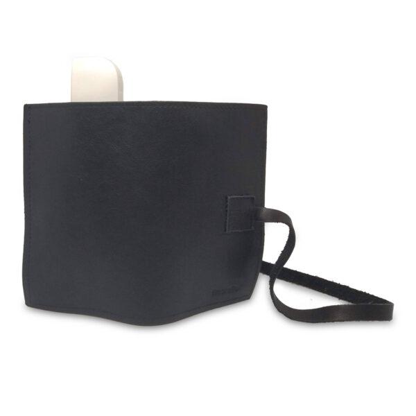 Porta IQOS classico in pelle nero con laccio