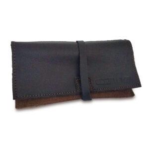 Portatabacco Compatto in pelle e camoscio nero e marrone