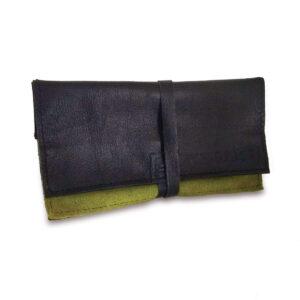 Portatabacco Compatto in pelle e camoscio nero e verde