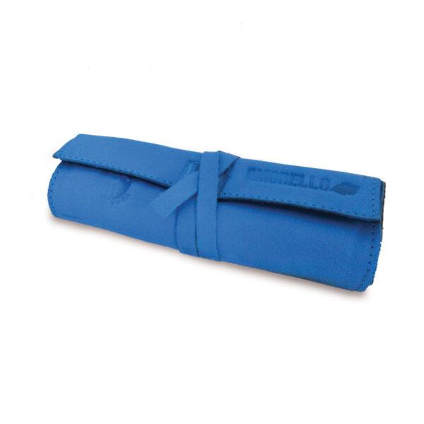 Portatabacco Compatto in pelle e camoscio azzurro e nero