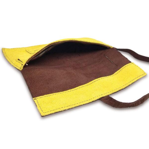 Portatabacco Compatto in pelle e camoscio marrone e giallo