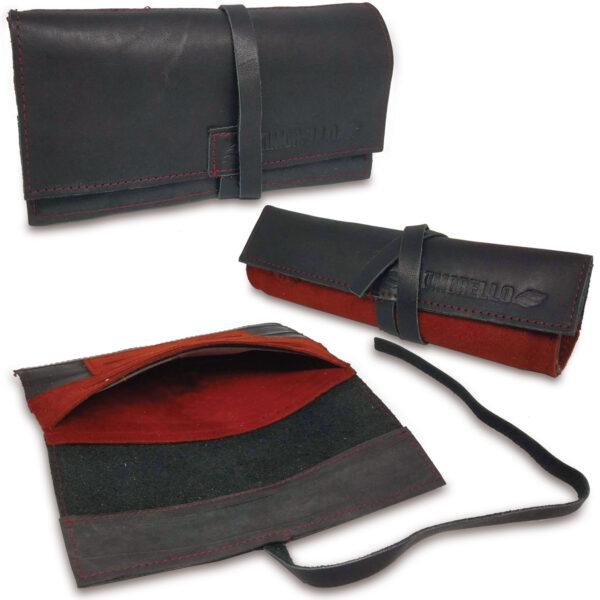Portatabacco Compatto in pelle e camoscio nero e marrone russet