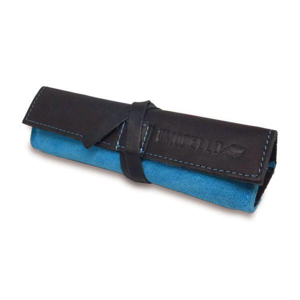 Portatabacco Compatto in pelle e camoscio nero e azzurro