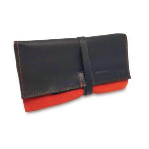 Portatabacco Compatto in pelle e camoscio nero e arancio