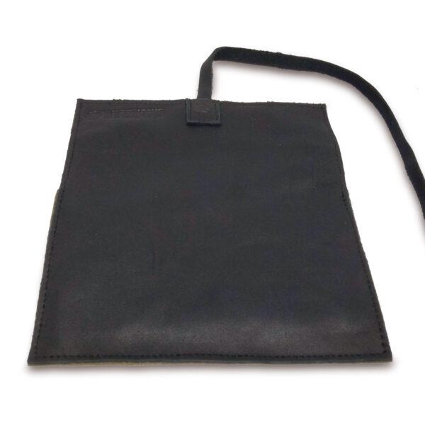 Portatabacco Compatto in pelle e camoscio nero e beige