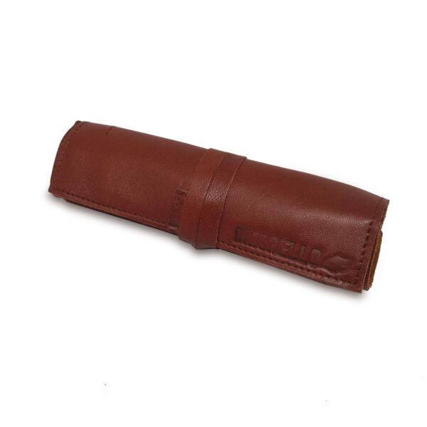 Portatabacco Compatto in pelle e camoscio marrone chiaro