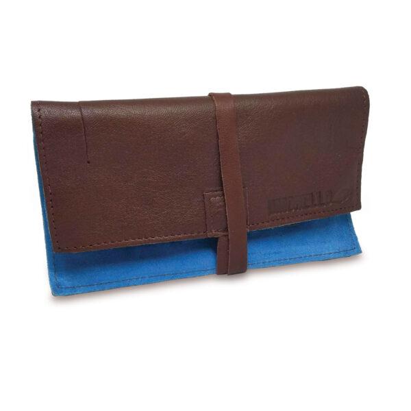 Portatabacco Compatto in pelle e camoscio marrone e azzurro