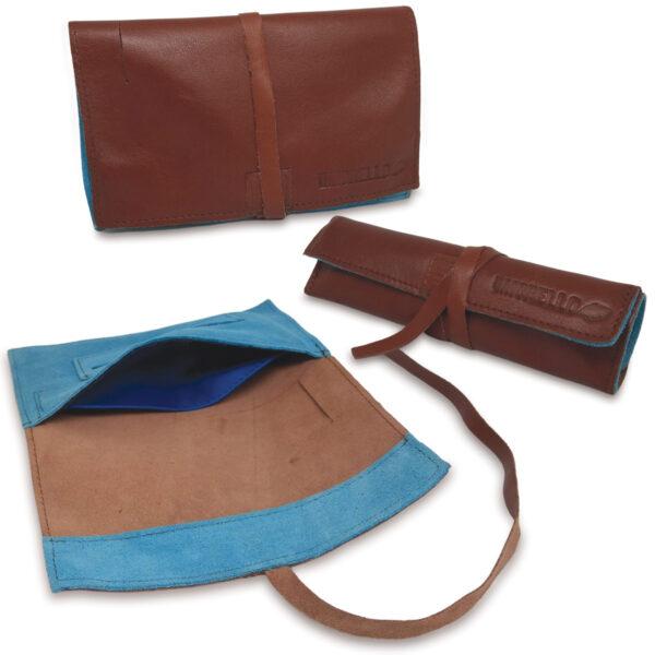 Portatabacco grande in pelle e camoscio mattone e azzurro
