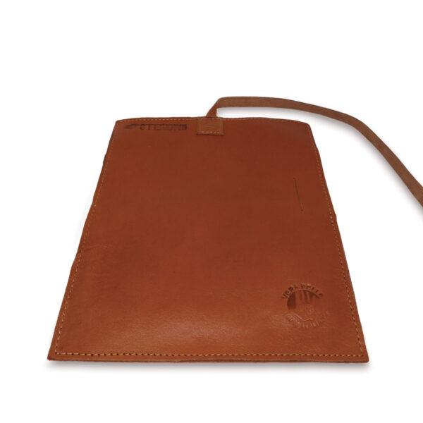 Portatabacco grande in pelle e camoscio marroncino