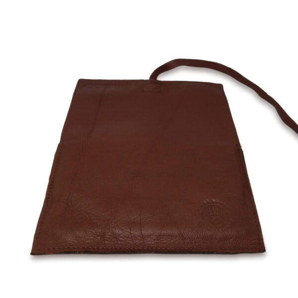 Portatabacco grande in pelle e camoscio marrone