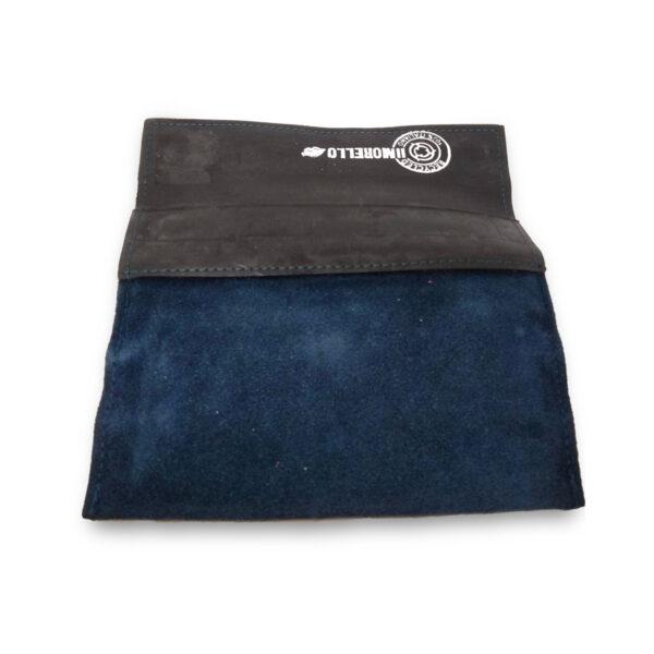Portatabacco Zip in pelle e camoscio blu e nero