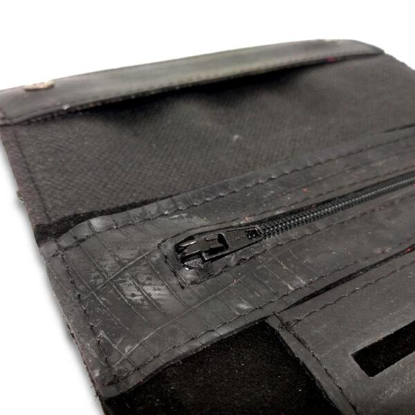 Portatabacco Zip in pelle e camoscio nero