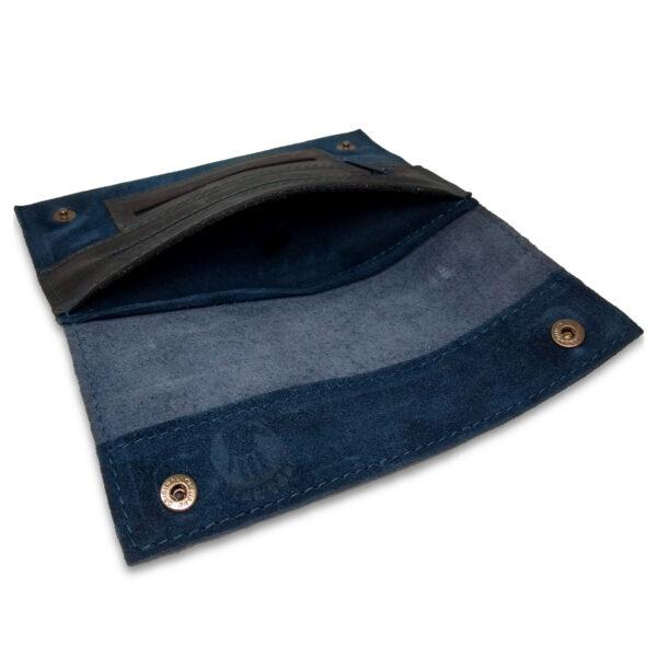 Portatabacco Zip in pelle e camoscio blu