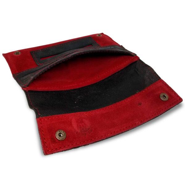 Portatabacco Zip in pelle e camoscio nero e rosso