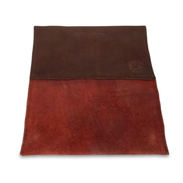 Portatabacco Zip in pelle e camoscio marrone russet