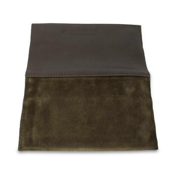 Portatabacco Zip in pelle e camoscio verde foresta