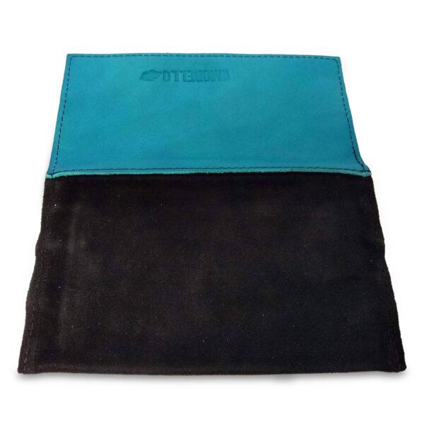 Portatabacco Zip in pelle e camoscio nero e turchese