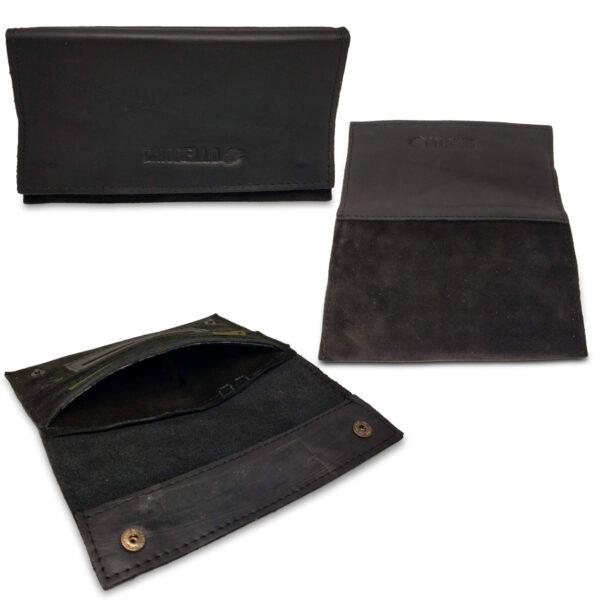 Portatabacco Zip in pelle e camoscio nero con dettagli ocra