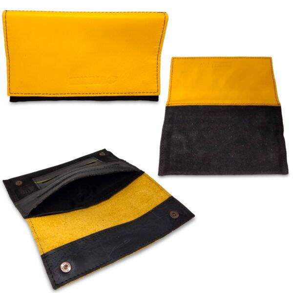Portatabacco Zip in pelle e camoscio nero e giallo