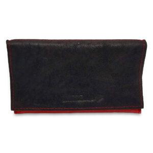 Portatabacco Zip in pelle e camoscio nero e arancio