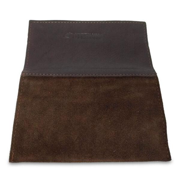 Portatabacco Zip in pelle e camoscio marrone scuro