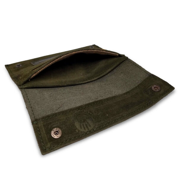 Portatabacco Zip in pelle e camoscio verde