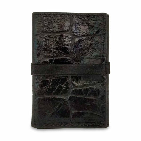 Portafogli EasyMoney con laccio orizzontale in pelle nera pitonata