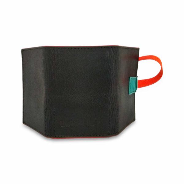 Portafogli EasyMoney con laccio orizzontale in pelle nera e verde petrolio