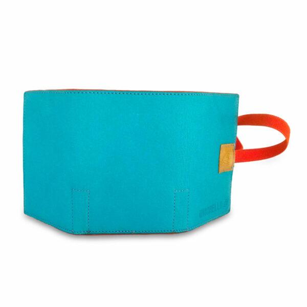 Portafogli EasyMoney con laccio orizzontale in pelle azzurra e gialla