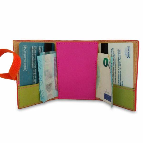 Portafogli EasyMoney con laccio orizzontale in pelle rosa e verde