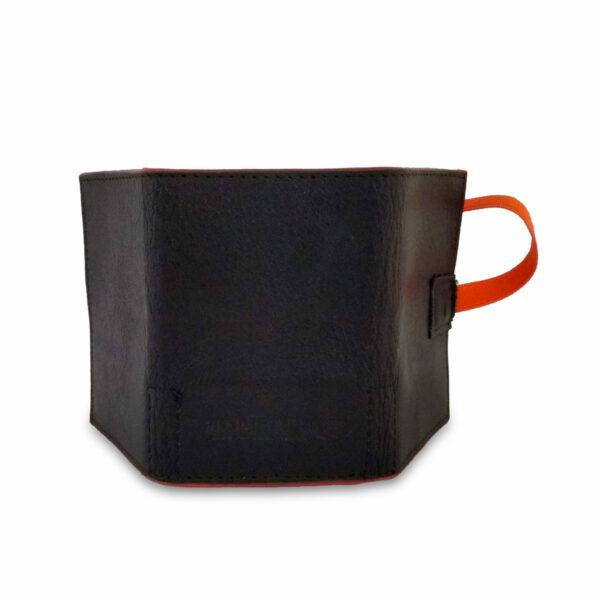 Portafogli EasyMoney con laccio orizzontale in pelle nera e arancio