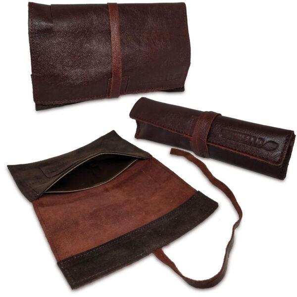 Portatabacco grande in pelle e camoscio color cioccolato