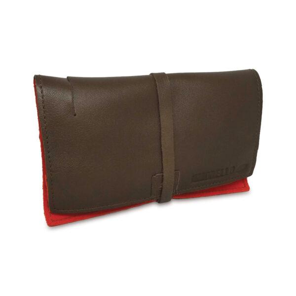Portatabacco grande in pelle e camoscio color marrone e pesca
