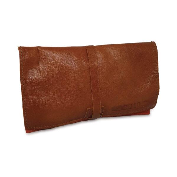 Portatabacco grande in pelle e camoscio color cannella