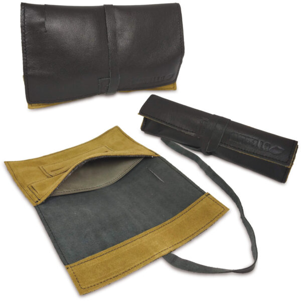 Portatabacco grande in pelle e camoscio color nero e verde acido